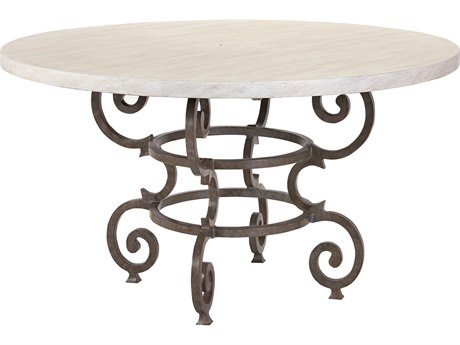 Lane Venture Hemingway Aged Gun Aluminum Florentine 52''Wide Round Dining Table PatioLiving