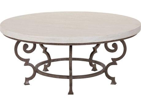 Lane Venture Hemingway Aged Gun Aluminum Florentine 42''Wide Round Coffee Table PatioLiving