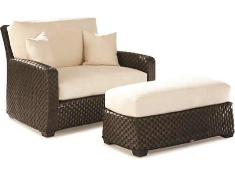 Lane Venture Leeward Dark Godiva Wicker Cuddle Chair