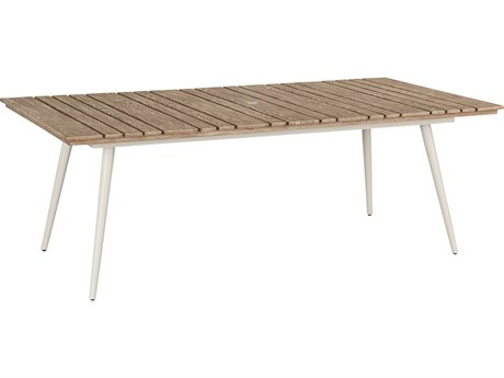 Lane Venture Essentials Aluminum 84''W x 42''D Rectangular Slat Top Dining Table with Umbrella Hole