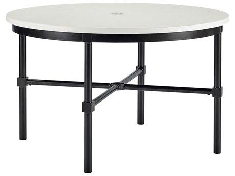Lane Venture Langham Dark Bronze Aluminium 48''Wide Round Dining Table with Umbrella Hole
