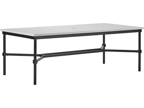 Lane Venture Langham Dark Bronze Aluminium 84''W x 42''D Rectangular Dining Table with Umbrella Hole