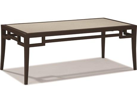 Lane Venture Redington Branchport Brown Aluminum 48''W x 25''D Rectangular Stone Glass Top Coffee Table