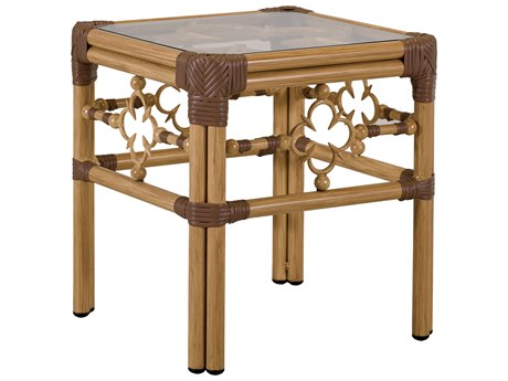Lane Venture Mimi By Celerie Kemble Raffia Aluminum 18''Wide Square Glass Top Accent Table
