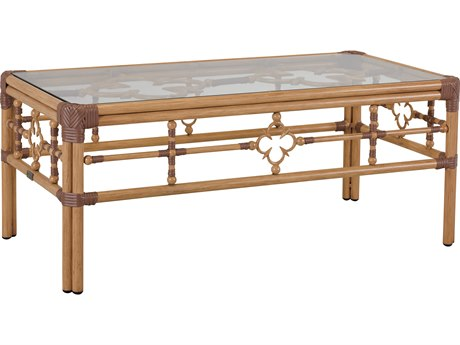 Lane Venture Mimi By Celerie Kemble Raffia Aluminum 46''W x 24''D Rectangular Glass Top Coffee Table