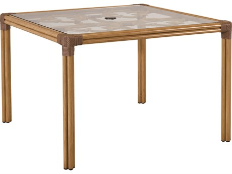 Lane Venture Mimi By Celerie Kemble Raffia Aluminum 45''Wide Square Glass Top Dining Table with Umbrella Hole