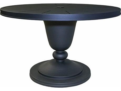 Lane Venture Winterthur Aluminum 48''Wide Round Pedestal Dining Table with Umbrella Hole