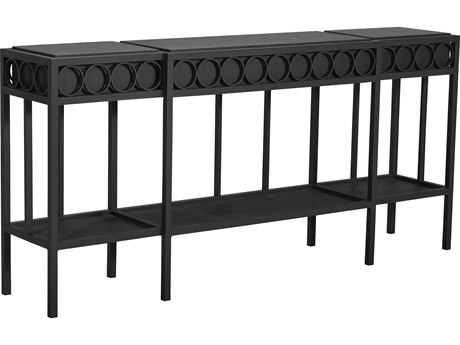 Lane Venture Winterthur Obsidian Black Aluminum 72''W x 15''D Rectangular Console Table