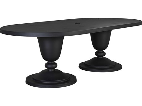 Lane Venture Winterthur Obsidian Black Aluminum 96''W x 48''D Oval Double Pedestal Dining Table with Umbrella Hole