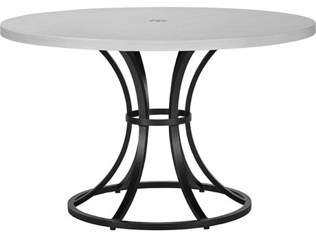Lane Venture Calistoga Dark Bronze Aluminum 48''Wide Round Dining Table with Umbrella Hole