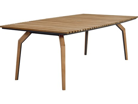Lane Venture Cote dAzur Sandrock Teak 84''W x 46''D Rectangular Dining Table with Umbrella Hole