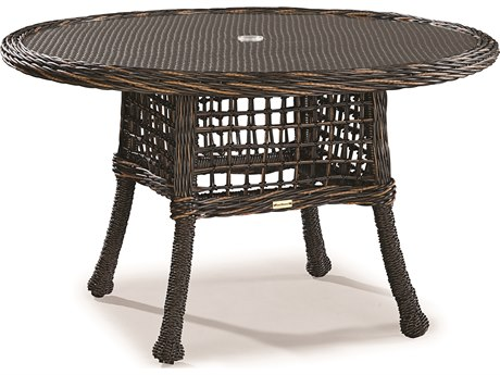 Lane Venture Moraya Bay Wicker 50''Wide Round Glass Top Dining Table with Umbrella Hole
