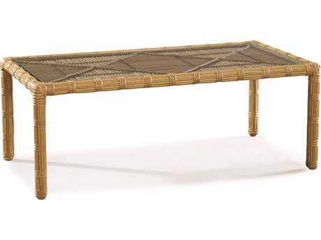 Lane Venture Rafter by Celeri Kemble Straw Wicker 49''W x 25''D Rectangular Glass Top Coffee Table