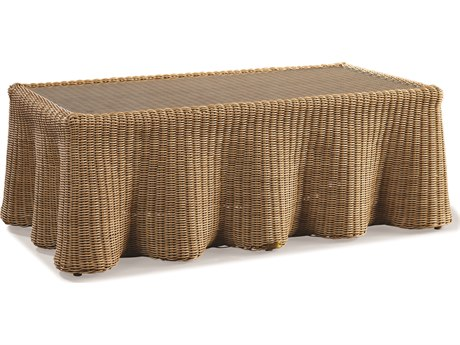 Lane Venture Crespi Wave by Celerie Kemble Mohave Wicker 52''W x 30''D Rectangular Glass Top Coffee Table