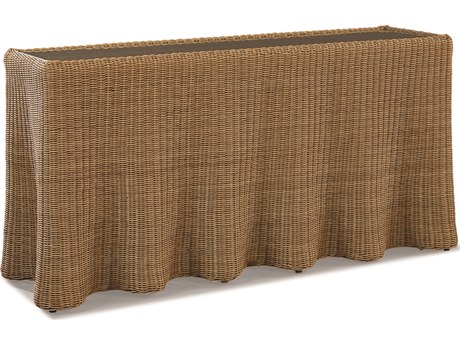 Lane Venture Crespi Wave by Celerie Kemble Mohave Wicker 68''W x 22''D Rectangular Glass Top Console Table