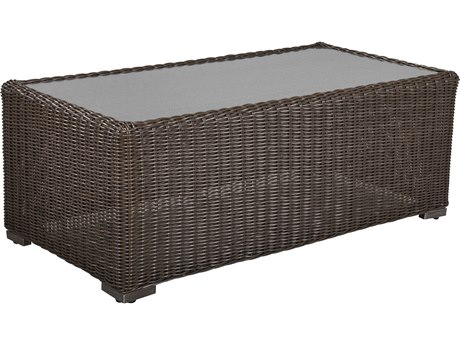 Lane Venture Fillmore Wicker 49''W x 25''D Rectangular Glass Top Coffee Table