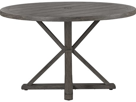 Lane Venture Mystic Harbor Wood Grain Aluminum 48''Wide Round Dining Table with Umbrella Hole