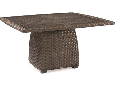 Lane Venture Leeward Godiva Wicker 54''Wide Square Dining Table with Umbrella Hole