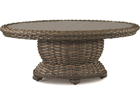 Lane Venture South Hampton Wicker 48''W x 31''D Oval Glass Top Coffee Table