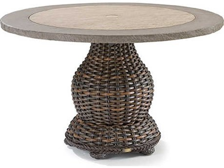 Lane Venture South Hampton Wicker 50''Wide Round Glass Top Dining Table with Umbrella Hole