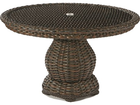Lane Venture South Hampton Wicker 48''Wide Round Glass Top Dining Table with Umbrella Hole
