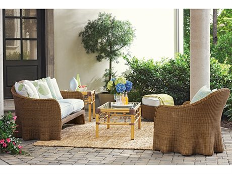Lane Venture Crespi Wave By Celerie Kemble Wicker Lounge Set LAVCRPBYCLRIELNGSET