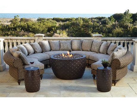 Lane Venture Hemingway Wicker Firepit Sectional Lounge Set LAVERNSTHWFRPSECLNGSET