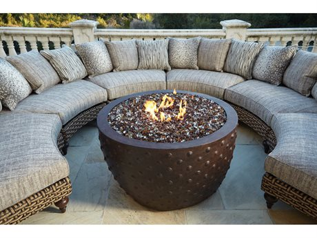 Lane Venture Hemingway Wicker Firepit Sectional Lounge Set LAVERNSTHWFRPSECLNGSET1