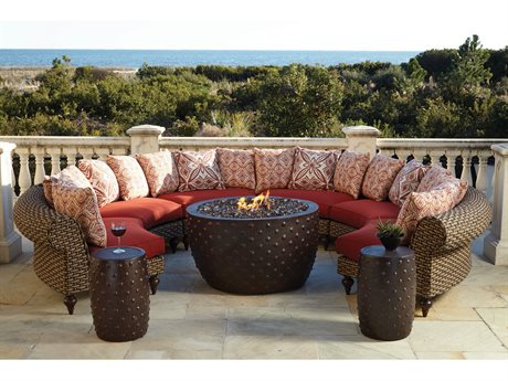 Lane Venture Hemingway Wicker Fire Pit Sectional Lounge Set LAVERNSTHWFRPSECLNGSET2