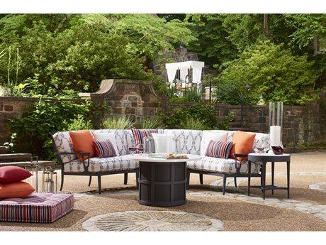 Lane Venture Winterthur Estate Aluminum Sectional Firepit Lounge Set