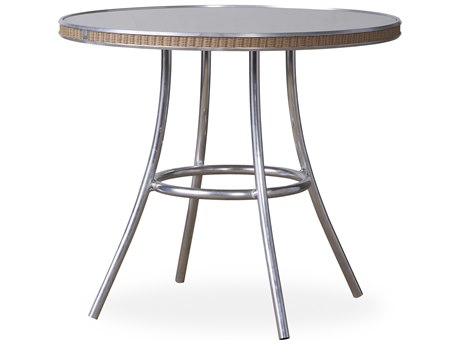 Lloyd Flanders All Seasons Wicker 33''Wide Round Taupe Glass Top Bistro Table PatioLiving
