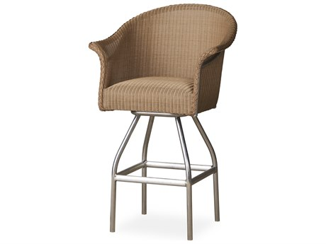 Lloyd Flanders All Seasons Wicker Swivel Bar Stool with Padded Seat PatioLiving