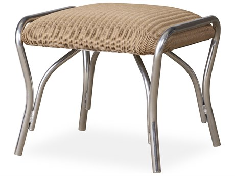 Lloyd Flanders All Seasons Wicker Ottoman with Padded Seat PatioLiving