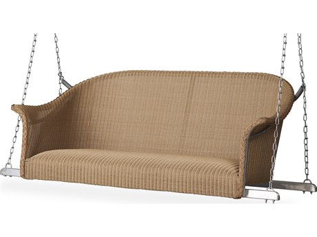 Lloyd Flanders All Seasons Wicker Loveseat Swing with Padded Seat PatioLiving