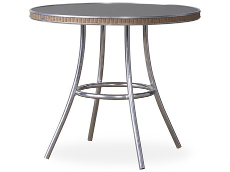 Lloyd Flanders All Seasons Wicker 33''Wide Round Charcoal Glass Top Bistro Table PatioLiving