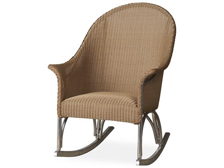 Lloyd Flanders All Seasons Wicker High Back Porch Rocker with Padded Seat LF124336
