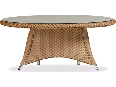 Lloyd Flanders Generations Wicker 48'' Round Conversation Table Woven Top with Lay-On Glass