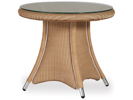Lloyd Flanders Generations Wicker 24'' Round End Table Woven Top with Lay-On Glass