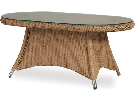 Lloyd Flanders Generations Wicker Oval Cocktail Table Woven Top with Lay-On Glass