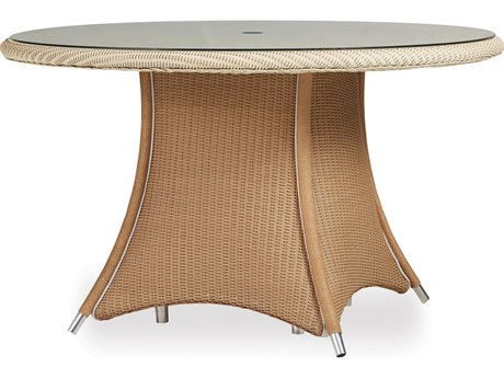 Lloyd Flanders Generations Wicker 48'' Round Dining Table Woven Top with Lay-On Glass