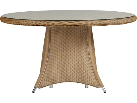 Lloyd Flanders Generations Wicker 54'' Round Umbrella Table Woven Top with Lay-On Glass