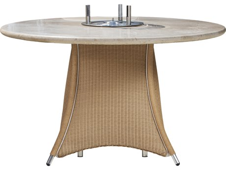 Lloyd Flanders Generations Wicker 48'' Round Dining Fire Table with EcoSmart Fire