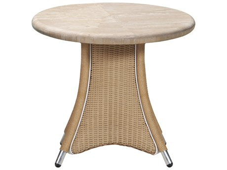 Lloyd Flanders Generations 24'' Round End Table with Light Travertine Top