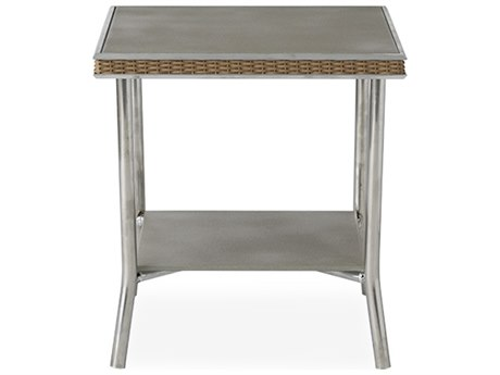 Lloyd Flanders Visions Wicker 20'' Wide Square Taupe Glass End Table