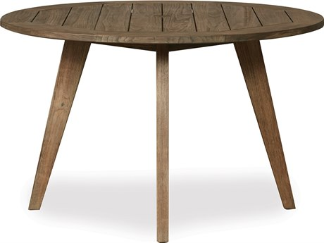 Lloyd Flanders Wildwood Teak 48''Wide Round Dining Table with Umbrella Hole PatioLiving