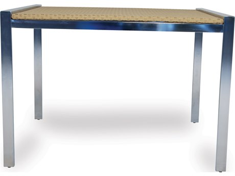 Lloyd Flanders Elements Steel Wicker 42''Wide Square Lay-On Glass Top Dining Table  PatioLiving