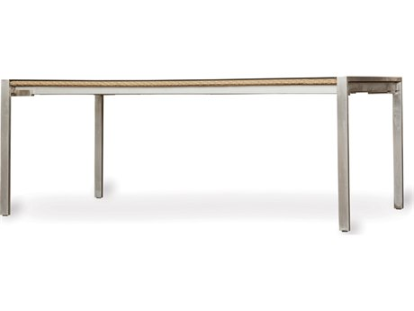 Lloyd Flanders Elements Steel Wicker 71'' x 42'' Rectangular Lay-On Glass Top Dining Table PatioLiving