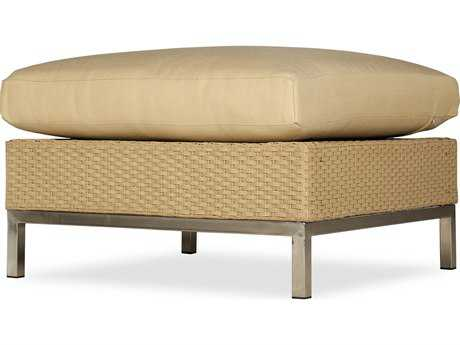 Lloyd Flanders Elements Steel Wicker Ottoman