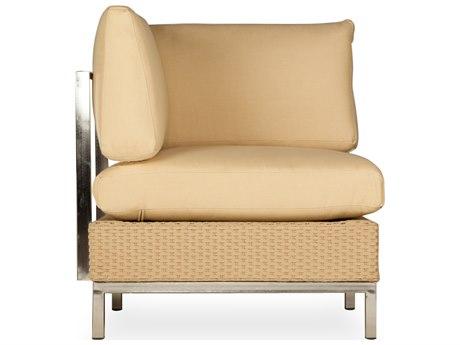 Lloyd Flanders Elements Steel Wicker Cushion Corner Sectional Lounge Chair