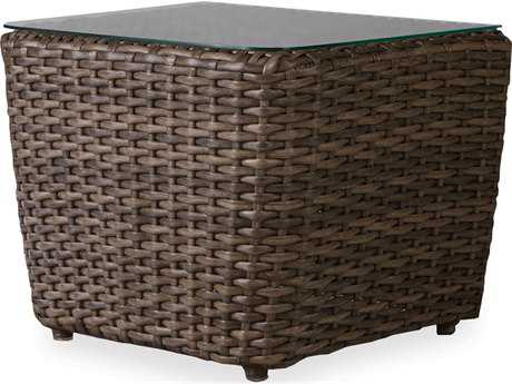 Lloyd Flanders Largo Wicker 1 piece Bunching End Table with Lay on Glass